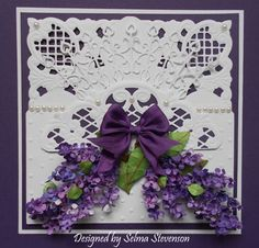This card designed using Marianne Design dies and the flowers were created with Susan's Garden Lilac dies. http://selmasstampingcorner.blogspot.com/2014/05/susans-garden-lilacs-with-tutorial.html