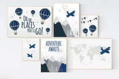Let him sleep for when he wakes he will move mountains, Nursery decor boy adventure, navy nursery decor boy airplane, world map nursery Map Nursery, Grey Nursery Boy, Travel Nursery, Boy Nursery Themes, Nursery Room, Nursery Ideas, Room Ideas, Baby Boy Rooms, Baby Boy Nurseries