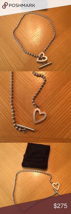 Gucci toggle heart necklace Gucci toggle heart necklace. Great condition. Comes with pouch Gucci Jewelry Necklaces