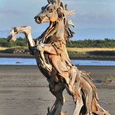 This is a great sculpture. To me, this was about wild horses. I think that drift wood is a good substance for such a piece of art. Other than its good sculpture material, I think it could be about horses being free and going where they want to go. Driftwood Sculpture, Horse Sculpture, Driftwood Art, Animal Sculptures, Driftwood Projects, Driftwood Beach, Beach Wood, Ribbon Sculpture, Clay Sculptures