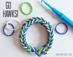 Make Seattle Seahawks Rainbow Loom Band Bracelets.jpg