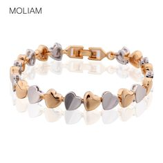 MOLIAM Famous Brand Heart Love Bracelets Women Gold Platinum Plated Link Chain Hand Bangle Best Friends Jewelry Gift L173 * View the item in details by clicking the image