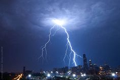 Lightning over the city of Chicago by mfive   Stocksy United