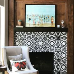 """1,109 Likes, 9 Comments - Cement Tile Shop (@cementtileshop) on Instagram: """"What a fantastic fireplace to cozy up to with a good book! The Bristol pattern is on the surround.…"""""""
