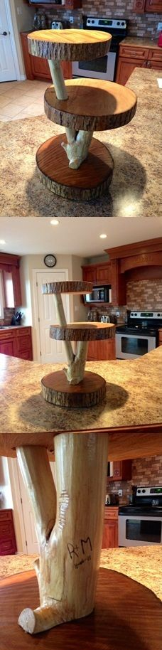 """Wooden cupcake stand. Or in my case """"fruit"""" stand! It even has our initials and wedding date carved into the side."""