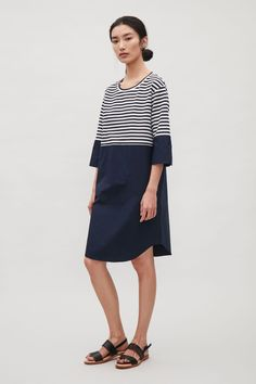 COS image 7 of Knit and cotton poplin dress in Navy