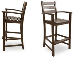 Trex Outdoor Furniture TXS120-1-VL Monterey Bay 2-Piece Bar Chair Set, Vintage Lantern. Set includes two TXD202 Monterey Bay Bar Arm Chairs. Unlike real wood, HDPE recycled lumber won't rot, crack or splinter; durable HDPE lumber gives the look of painted wood without the maintenance. Resists environmental stresses including stains, insects, corrosive substances and salt spray; all hardware is genuine stainless steel. Some assembly required; made in the USA. Set measures 80 Inch wide by…