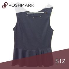 Black peplum top Black peplum top with gold studs at the neckline Love Culture Tops Tank Tops