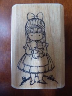 Rubber Stamp by Kidstamps 1983 Joan Walsh Anglund Little Girl with Dress & Doll #Kidstamps