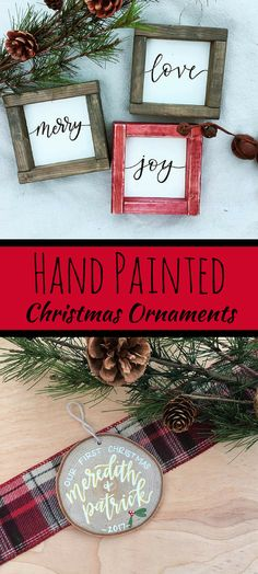 I love these hand made Christmas tree ornaments! They are gorgeous! Tree Cookies | Our First Christmas Ornaments | Christmas Ornaments | Newlywed Ornaments | Personalized Ornaments | Christmas Decor | #afflink #christmas #christmasornaments #handpainted #handmade #rustic