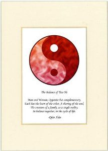 "5x7 Yin Yang Print (Red/Red) with Ivory Mat by Oriental Design Gallery. $9.45. Each print is mounted on acid-free mat board by using acid free adhesive. Print size is 5"" x 7"", Mat Opening is 3"" x 4 1/2"".. Made in USA. High resolution prints on high quality glossy paper. This is a Yin Yang Print with an original Chinese Proverb written by Qiao Xiao. The proberb is entitled ""The Balance of Tiao He"", the proverb says: ""Man and Woman, Opposite but Complementary, Each ..."