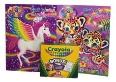Ultimate Lisa Frank Coloring Activity Book 2 Pc Set with 64 Ct. Crayola Crayons