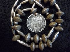 NAVAJO COIN SILVER DOLLAR SQUASH BLOSSOM MERCURY DIME NECKLACE STERLING OLD PAWN