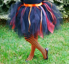 Full tutu with ribbon. This one is halloween colors but could really be done in any color!