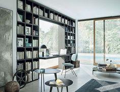 Wall-mounted bookcase / modular / contemporary / lacquered wood - SELECTA - LEMA…