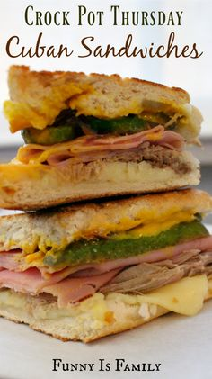 This Crockpot Cuban Sandwich recipe is out of this world! The slow cooked pork shoulder pairs perfectly with ham, pickles, cheese, and mustard for a meal you won't soon forget! via @funnyisfamily