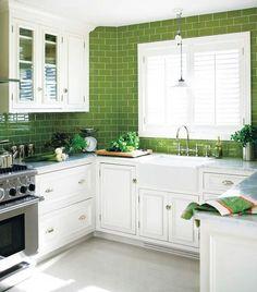 Green Subway Tile Kitchen Backsplash - for remodel? Green Kitchen Cabinets, New Kitchen, Kitchen Decor, White Cabinets, Kitchen White, Design Kitchen, Awesome Kitchen, Kitchen Paint, Kitchen Country