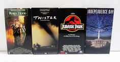 4 Action Movies - VHS Tapes - Independence Day Twister Jurassic Park Robin Hood..... Visit all of our online locations ..... (www.stores.eBay.com/variety-on-a-budget) ..... (www.amazon.com/shops/Variety-on-a-Budget) ..... (www.etsy.com/shop/VarietyonaBudget) ..... (www.bonanza.com/booths/VarietyonaBudget ) .....(www.facebook.com/VarietyonaBudgetOnlineShopping)