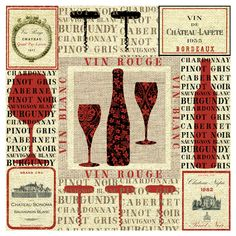 """""""Vin Rouge"""" Wine Art - Wine Bottle, glass & corkscrew Collage Typography #cCreams #cRed"""