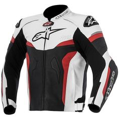 Moto Leather Jacket Alpinestars CELER Leather Jacket Black White Red