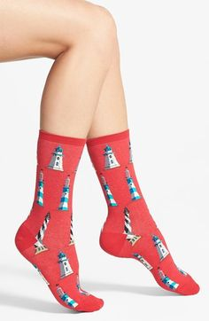 HOT SOX 'Lighthouse' Crew Socks (3 for $15) available at #Nordstrom