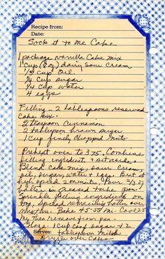 Sock It To Me Cake. 2 teaspoon cinnamon 2 tablespoon brown sugar 1 c. Retro Recipes, Old Recipes, Vintage Recipes, Healthy Recipes, Amish Recipes, Cinnamon Recipes, Blender Recipes, Bread Recipes, Yummy Recipes