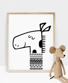 Giraffe Nursery Decor Scandinavian Nursery Black and White