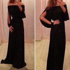 Black Plain Boat Neck Split Sleeve Long Sleeve Chiffon Dress