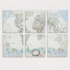 Keep the world together with our exclusive World Map Six-Piece Map Set. The six-section stretched canvas art piece displays as beautifully as a painting. Hang all six together or separately for a vivid and creative continental worldview.