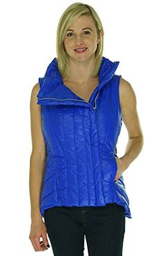 Betsey Johnson Asymmetrical Quilted Puffer Vest Cobalt Xlarge * Read more reviews of the product by visiting the link on the image.