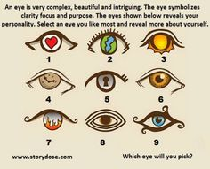 The Eyes Shown Above Reveals Your Personality. Select An Eye And Reveal More About Yourself