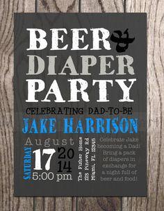 Diaper Party InvitationMan Shower Invitation Diaper parties Man