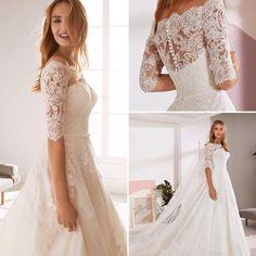 Sheer Wedding Dress, Lace Wedding Dress With Sleeves, Rustic Wedding Dresses, Classic Wedding Dress, Wedding Dresses Plus Size, Dream Wedding Dresses, Winter Wedding Dresses, Lace Wedding Dress Topper, Petite Bride Wedding Dress