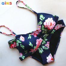 Qins 2016 Verano de Las Mujeres imprimir Neopreno Bikini traje de Baño Atractivo…