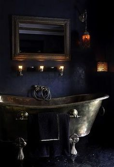 A gothic bathroom is not necess. - Dramatic Gothic Bathroom Designs Ideas — …A gothic bathroom is not necessarily a black on - Gothic Interior, Gothic Home Decor, Interior Design, Gothic Bathroom Decor, Steampunk Bathroom, Bathroom Interior, Interior Office, Modern Interior, Dark Home Decor