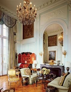 Mario Buatta living room.  Omg the height of the ceiling and the window, stunning.