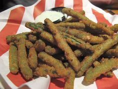 TGIFridays fried green beans  Not hard to do but time consuming :(  Needed more salt too I think.  Kids ad hubby liked it though.