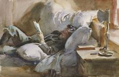John Singer Sargent (1856 — 1925, USA) Man Reading. c. 1910 watercolor on white wove paper. 34.9 x 53.5 cm.