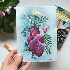 Heart painting - - Heart painting Art to possibly try Small Canvas Paintings, Small Canvas Art, Mini Canvas Art, Acrylic Painting Canvas, Original Paintings, Acrylic Painting Flowers, Aesthetic Painting, Aesthetic Drawing, Aesthetic Art