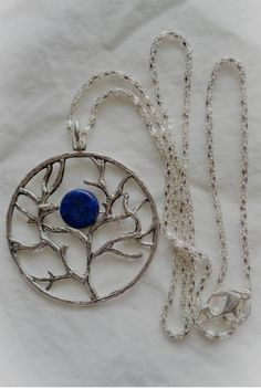 Lapis Lazuli Tree of Life Blue Moon Woman's Pendant by BohemianUp