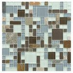 "Sierra 11.75"" x 11.75"" Glass and Natural Stone Mosaic Tile in Versailles Tundra"