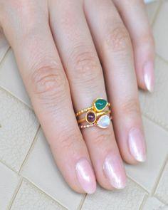 Gemstone Stack Mini Rings - Set of Three in Gold Vermeil | Sivalya