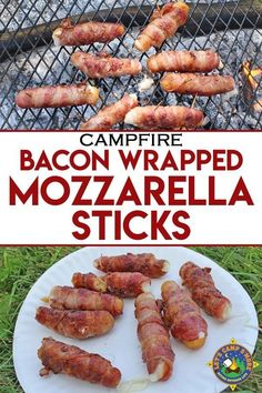 Bacon-Wrapped Mozzarella Sticks Recipe - Bacon Wrapped Mozzarella Sticks Grilled over a Campfire – Looking for a unique camping recipe with bacon? Try these Bacon Wrapped Mozzarella Sticks. They so tasty and are so super easy to grill over a campfire. Mozzarella Sticks, Grilling Recipes, Cooking Recipes, Cooking Foil, Bacon On The Grill, Campfire Food, Campfire Recipes, Bonfire Food, Outdoors
