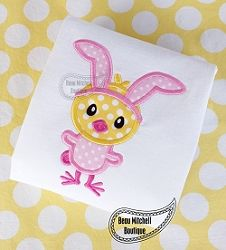 Chick in Bunny Suit Applique - 3 Sizes! | What's New | Machine Embroidery Designs | SWAKembroidery.com Beau Mitchell Boutique