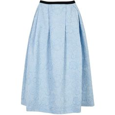 Womens Midi Skirts Erdem Imaria Blue Pleated Cloqué Midi Skirt (€1.320) ❤ liked on Polyvore featuring skirts, floral midi skirt, erdem, calf length skirts, floral printed skirt and floral print midi skirt