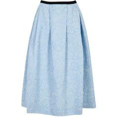 Womens Midi Skirts Erdem Imaria Blue Pleated Cloqué Midi Skirt (€1.320) ❤ liked on Polyvore featuring skirts, floral midi skirt, erdem, calf length skirts, floral printed skirt and floral print midi skirt