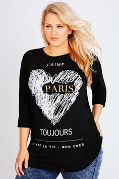Black 3/4 Length Sleeve Sweat Top With Paris Scribble Print