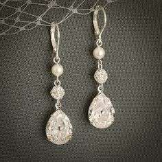 PHILBERTA, Modern Vintage Style SWAROVSKI Teardrop Crystal Earrings, Statement Bridal Jewelry, Pearl and Rhinestone Bridal Earrings at $38 on etsy.com