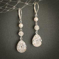 PHILBERTA, Modern Vintage Style SWAROVSKI Teardrop Crystal Earrings, Statement Bridal Jewelry, Pearl and Rhinestone Bridal Earrings at $38 on etsy.com