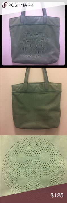 Coach leather tote Excellent condition! Only used a handful of times. Authentic coach bag. No stains. Super cute spring/summer bag. Mint color. You can carry anything in it from your laptop to your lap dog. Maybe not the dog... :) Coach Bags Totes